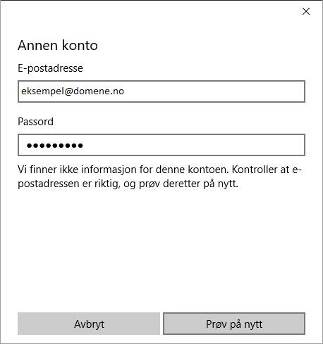 brukernavn og passord windows